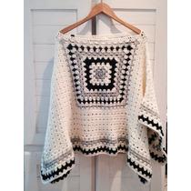 Poncho De Lana Tejido Crochet Varios Colores - Limbo