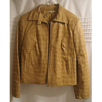 Campera Simil Cuero - Croc Color Camel Importada