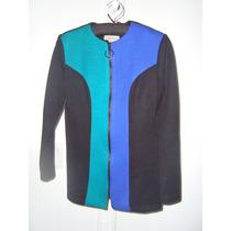 Saco Negro Verde Y Azul Con Tramado De Lanilla. Made In Usa