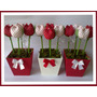 Centro De Mesa Souvenirs Macetero Pimpollos Tulipanes