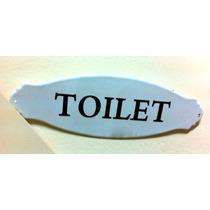 Cartel Toilet De Chapa Enlozada Decoración Baño Antiguo