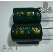 """5x Capacitor 1000uf 25v 105°c 10x17 """"nuevos"""" Sanyo Japón"""