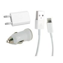 Kit Cargador Auto + Pared + Usb + Cable Iphone 5c 5s Ipod 5