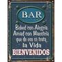Cartel De Chapa Vintage Retro Bar Bienvenidos L326