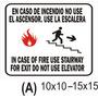Cartel En Caso De Incendio Use La Escalera - Alto Impacto
