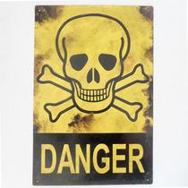 Cartel Antiguo Danger 30x20cm De Chapa Gruesa (0.89mm)