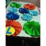 Set De 9 Adornos En Cartulina De Colores Con Pintitas