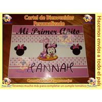 Souvenirs Cartel Bienvenidos Personalizado Minnie Bebé Y Más