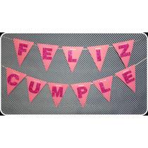 Cartel Guirnalda Banderín. Feliz Cumple Brilloso + Nombre