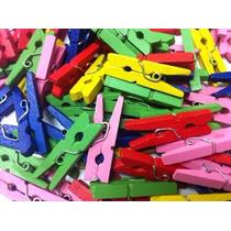 Mini Broches De Madera X 50 Unidades (colores Surtidos)