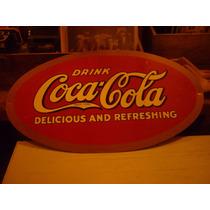 Cartel Chapa Publicidad Coca Cola Pintado A Mano Ovalado