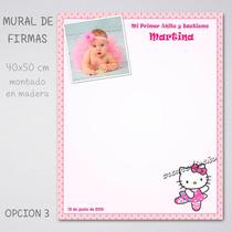 Hello Kitty Mural De Firmas Bautismo Primer Añito Cumpleaños