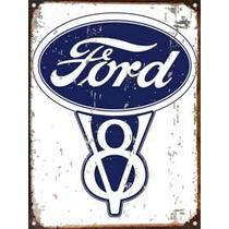 Cartel De Chapa Publicidad Antigua Logo Ford A009