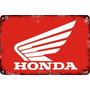 Carteles Antiguos Chapa Gruesa 60x40cm Honda Au-602