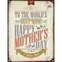 Cartel De Chapa Vintage Dia De La Madre D007