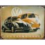 Cartel Chapa Publicidad Antigua Vw The Beetle Y Combi L228