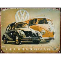 Cartel Chapa Publicidad Antigua Vw The Beetle Y Combi L228