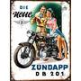 Cartel De Chapa Publicidad Antigua Moto Zundapp Y256
