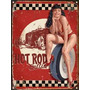 Cartel De Chapa Publicidad Antigua Hot Rod Bettie Page X234