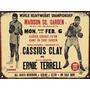 Cartel Chapa Publicidad Antigua Boxeo Ali Clay Terrell M101