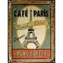 Cartel De Chapa Vintage Retro Paris Cafe Torre Eiffel M325