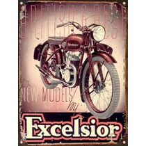 Cartel De Chapa Publicidad Antigua Moto Excelsior L217