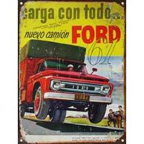 Cartel Chapa Publicidad Antigua 1961 Ford F600 Y242