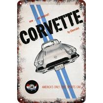 Carteles Antiguos Chapa 60x40cm Chevrolet Corvette Au-169