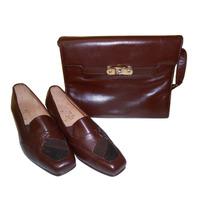 Conjunto Cuero Zapatos Mujer N°39+cartera Cuero De Vaca Napa