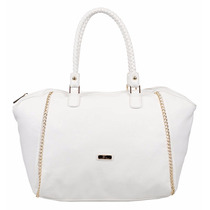 Extra Large Cartera Grande Cadena Color Blanco Cuero Eco
