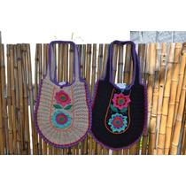 Tejido Al Crochet Cartera Artesanal Forrada