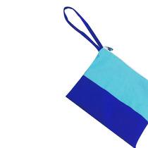 Sobre Cartera De Dos Colores Azul Y Turquesa Con Manija