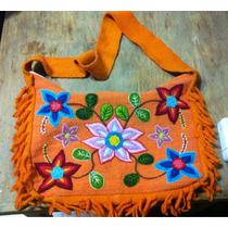 Cartera Naranja Bordada Mexicana - Morral
