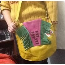 Bandolera De Cuero Vacuno 100% Original Con Flecos Navidad