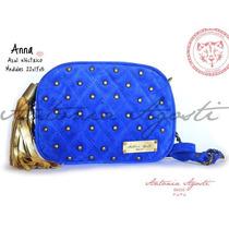 Hermosa Cartera De Cuero Gamuzado Azul Con Tachas !!! Nueva!
