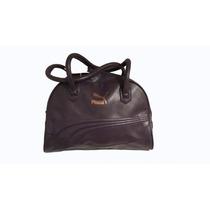Puma Cartera De Simil Cuero Color Negra Logo Estampado