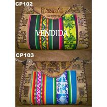 Cartera De Cuero Y Aguayo - Carterita Tamaño 3 Vs Colores