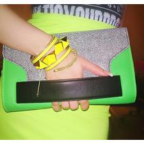 Clutch Sobre Cartera H&m Verde Neon Fluo Fiesta Importado