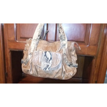 Vendo Cartera Simil Cuero Con Aplicaciones Color Marron Y He