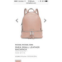 Michael Kors Rhea Small Leather Backpack Rosa