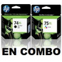 Cartucho Hp 74xl + 75xl 74 75 Xl Negro+color Originales