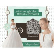 Kit Editable Psd De Tarjetas De Casamiento Y Bodas