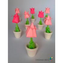 Souvenir Boda Casamiento. Tulipan Con Maceta! *origami Deco*