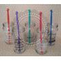 Souvenirs Frasco Vaso Vidrio Decorado Mezclador Manito Color