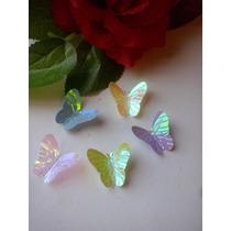 10 Mariposas Tornasoladas Decoración Plástica Tortas Cupcake
