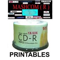 Cd -r Sks Imprimibles. 52x 700mb. 80min. X 50 -mercadoenvio