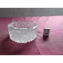 Cenicero De Vidrio Labrado Antiguo Con Encendedor