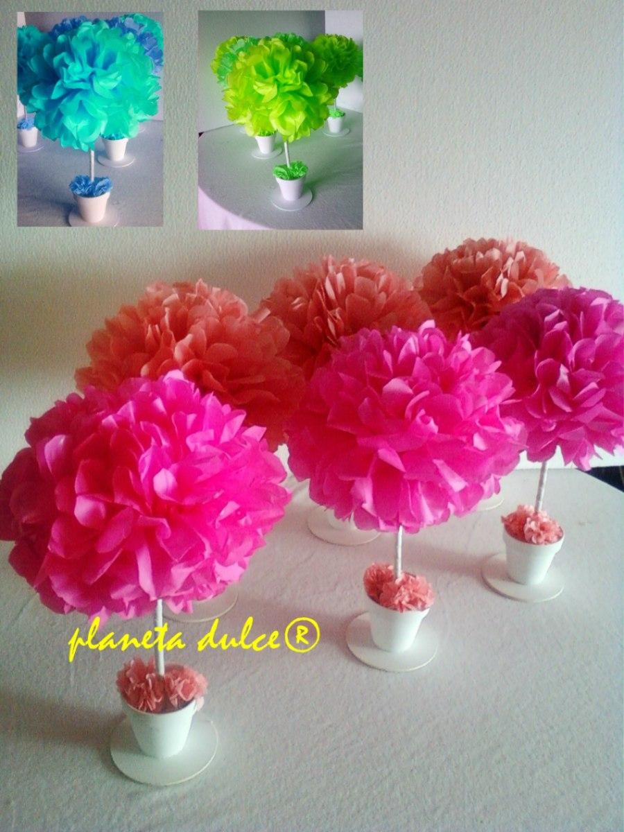 Centro de mesa pompon flor en papel seda planeta dulce mla - Centros de mesa de papel ...