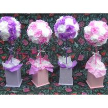 Centro De Mesa Con Flores ,topiarios,souvenirs,comunion Baut