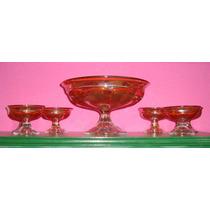 Carnival Glass - Bowl Con Pie Y 6 Compoteras - Diseño Caliz